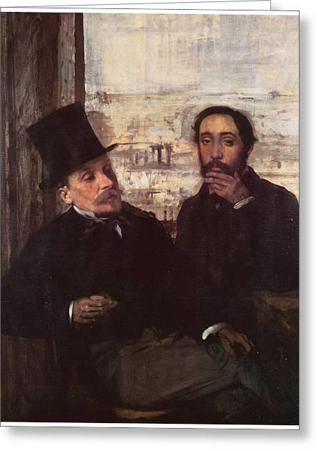 Self-portrait Greeting Cards - Self-portrait with Evariste de Valernes Greeting Card by Edgar Degas