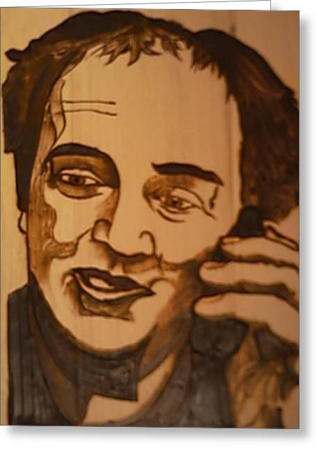 Woodburn Pyrography Greeting Cards - Self Portrait Your photo here Greeting Card by Timothy Wilkerson