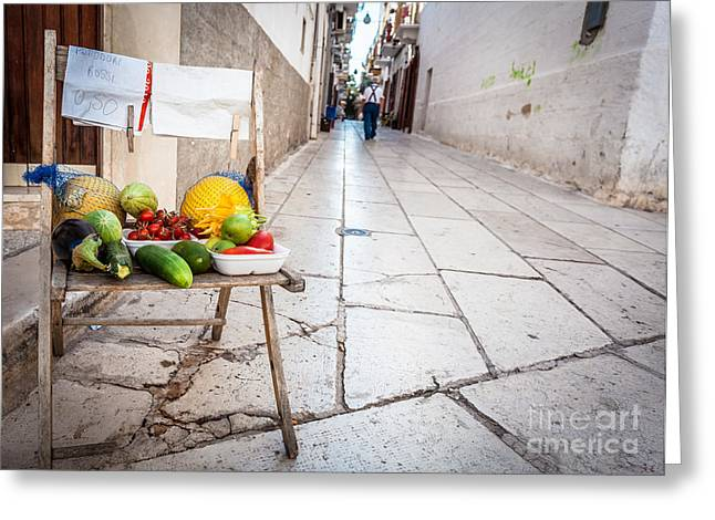 South Italy Greeting Cards - Selling raw fruits and vegetables Greeting Card by Sabino Parente