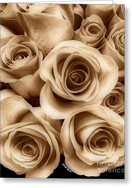Wedding Reception Greeting Cards - Sepia Roses Greeting Card by Cheryl Young