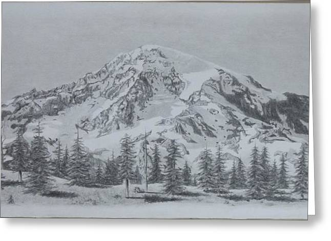 Snow Capped Drawings Greeting Cards - Serenity Greeting Card by Dino Baiza