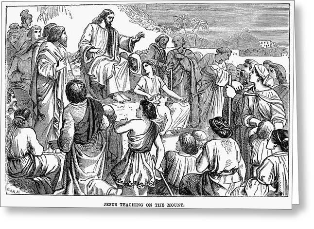 Jesus Sermon Greeting Cards - Sermon On The Mount Greeting Card by Granger