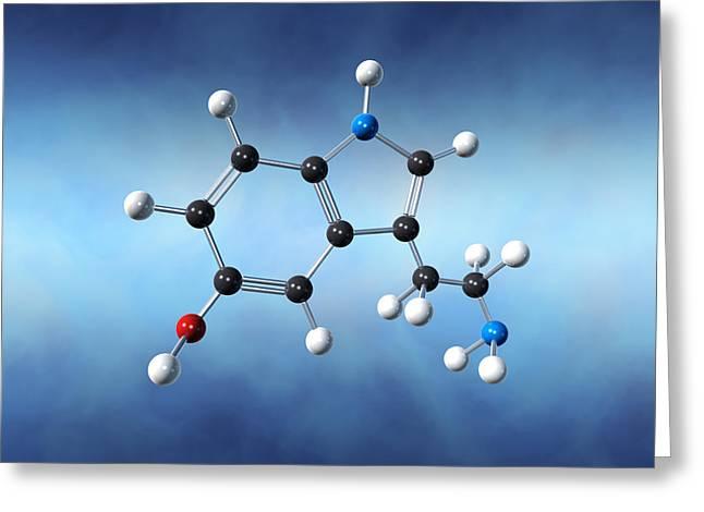 Serotonin Greeting Cards - Serotonin Neurotransmitter Molecule Greeting Card by David Mack