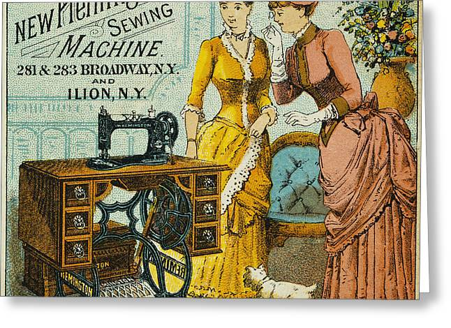 1880s Photographs Greeting Cards - SEWING MACHINE AD, c1880 Greeting Card by Granger