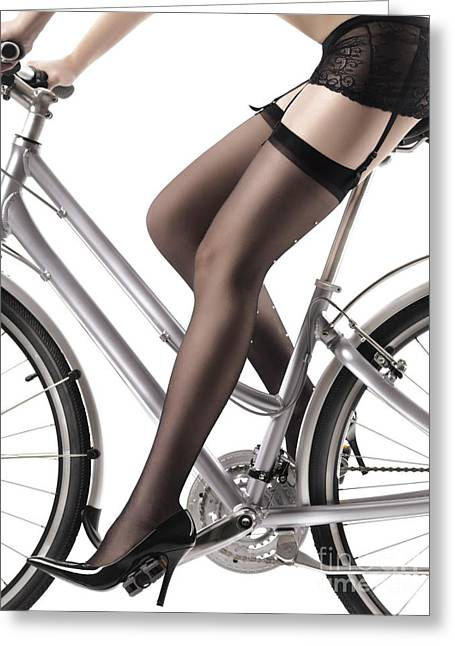 Long Legs Greeting Cards - Sexy Woman Riding a Bike Greeting Card by Oleksiy Maksymenko