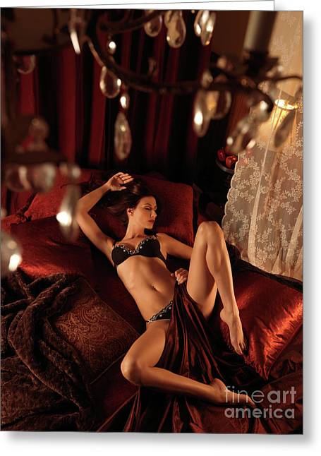 Full Body Greeting Cards - Sexy Young Woman Lying in Bed Greeting Card by Oleksiy Maksymenko