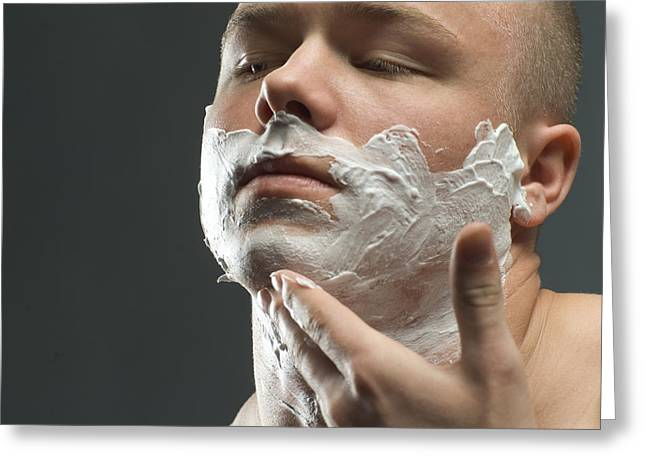 Personal-development Greeting Cards - Shaving Foam Greeting Card by Coneyl Jay