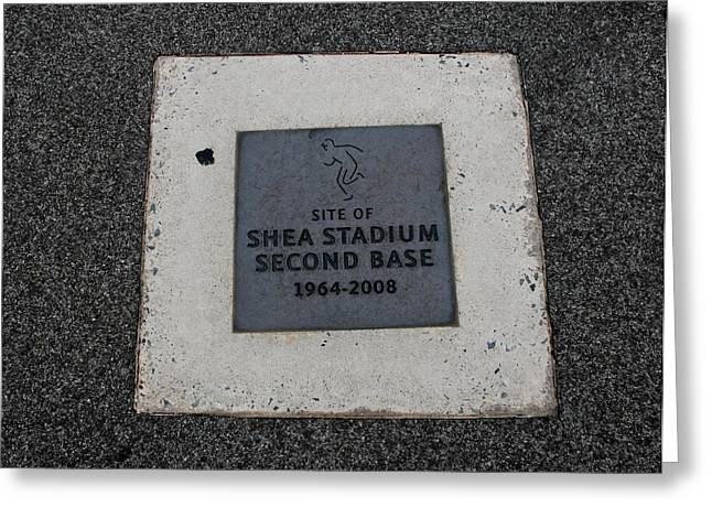 2nd Base Greeting Cards - Shea Stadium Second Base Greeting Card by Rob Hans