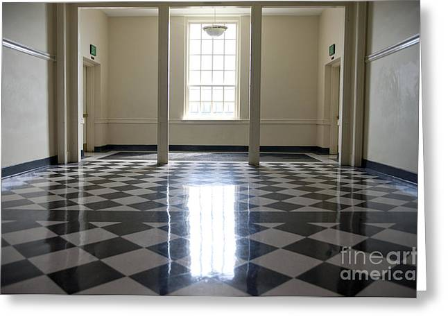 Checkerboard Floor Greeting Cards - Shiny Checkered Floor of a School Greeting Card by Will & Deni McIntyre