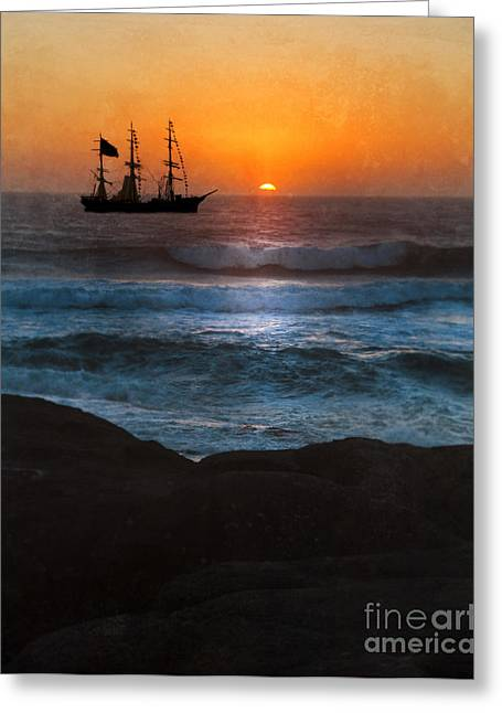 Pirate Ship Greeting Cards - Ship Off Rugged Coast Greeting Card by Jill Battaglia