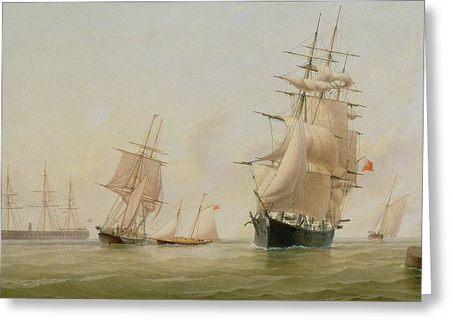 Schooner Paintings Greeting Cards - Ship Painting Greeting Card by WF Settle