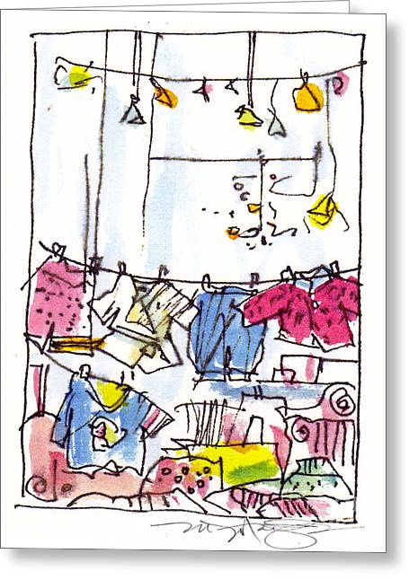 Shop Window Paris Greeting Card by Marilyn MacGregor