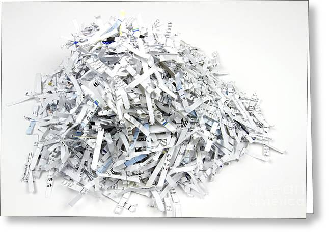 Rubbish Greeting Cards - Shredded Paper Greeting Card by Blink Images