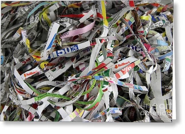 Shredded Greeting Cards - Shredded Paper Greeting Card by Photo Researchers, Inc.