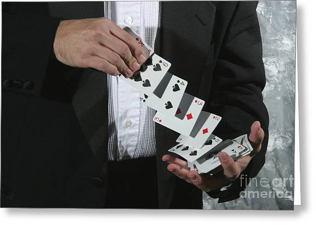 Playing Cards Greeting Cards - Shuffling Cards Greeting Card by Ted Kinsman