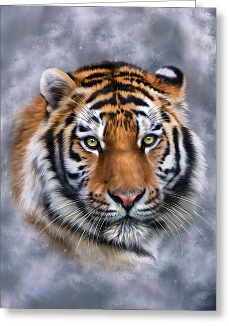 Altaica Greeting Cards - Siberian Tiger Greeting Card by Julie L Hoddinott
