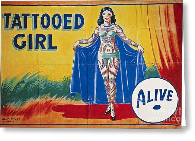 1950s Photographs Greeting Cards - SIDESHOW POSTER, c1955 Greeting Card by Granger