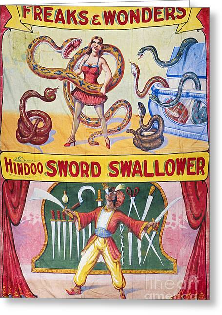 Aod Greeting Cards - SIDESHOW POSTER, c1975 Greeting Card by Granger