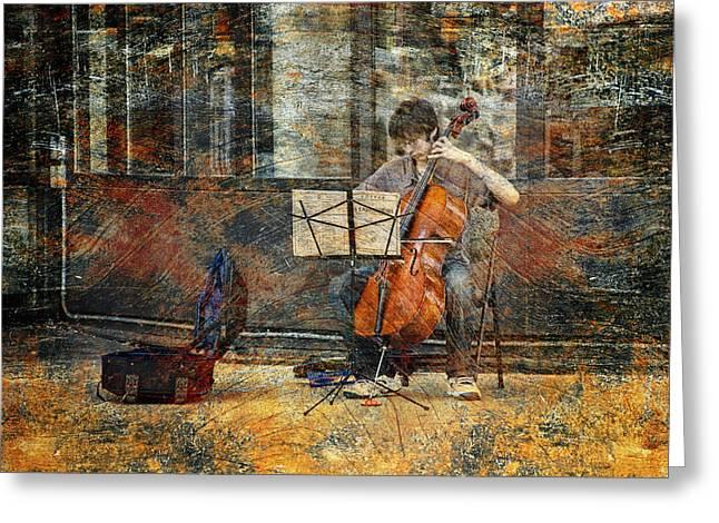 Cellist Greeting Cards - Sidewalk Cellist Greeting Card by Randall Nyhof