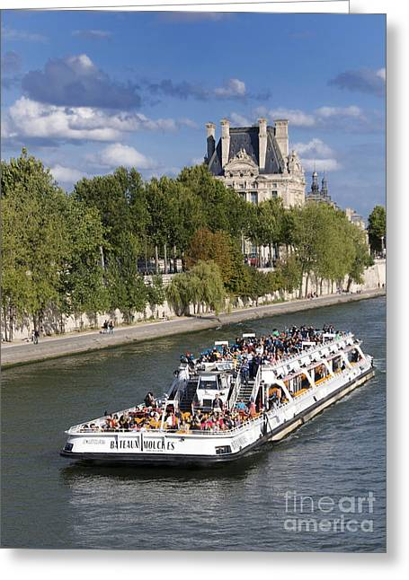 Best Sellers -  - Royal Art Greeting Cards - Sightseeing boat on river Seine to Louvre museum. Paris Greeting Card by Bernard Jaubert
