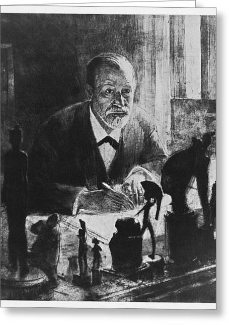 Statue Portrait Greeting Cards - Sigmund Freud, Austrian Psychologist Greeting Card by Humanities & Social Sciences Librarynew York Public Library