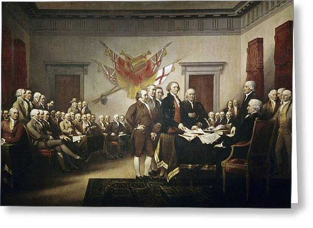 Interior Paintings Greeting Cards - Signing the Declaration of Independence Greeting Card by John Trumbull