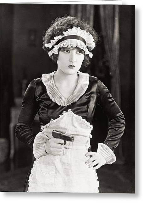Apron Greeting Cards - Silent Film Still: Guns Greeting Card by Granger