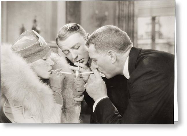 Dressmaker Greeting Cards - Silent Film Still: Smoking Greeting Card by Granger