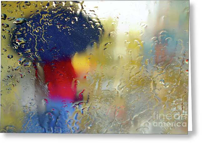 Abstract Rain Greeting Cards - Silhouette in the Rain Greeting Card by Carlos Caetano