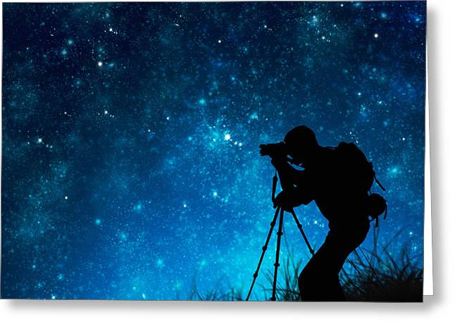Space Photographs Greeting Cards - Silhouette Of Photographer Shooting Stars Greeting Card by Setsiri Silapasuwanchai