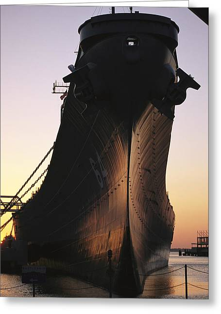 Sunset Scenes. Greeting Cards - Silhouette Of The Battleship U.s.s Greeting Card by O. Louis Mazzatenta