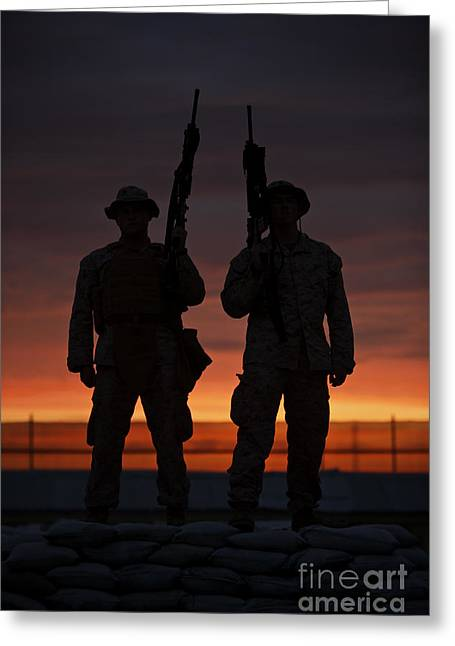 Backlit Greeting Cards - Silhouette Of U.s Marines On A Bunker Greeting Card by Terry Moore