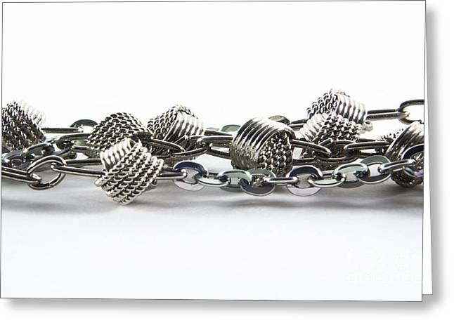 Jewelery Greeting Cards - Silver jewel chain Greeting Card by Blink Images