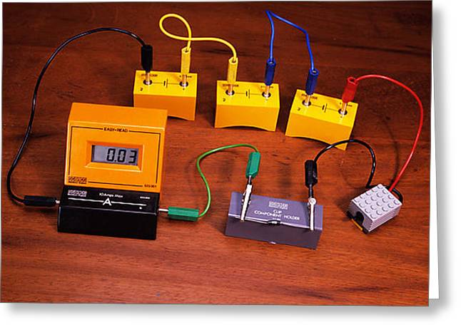 Motor Meter Greeting Cards - Simple Electrical Circuit Greeting Card by Andrew Lambert Photography