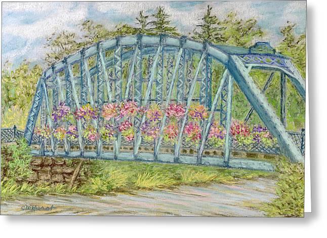 Bridge Pastels Greeting Cards - Simsbury Flower Bridge Greeting Card by Collette Hurst