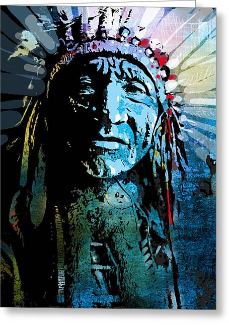 American Indian Portrait Greeting Cards - Sioux Chief Greeting Card by Paul Sachtleben