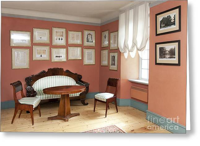 Coffee Table Couch Greeting Cards - Sitting Room With Framed History Greeting Card by Jaak Nilson