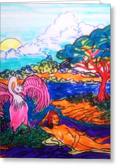 Bird On Tree Drawings Greeting Cards - Sketch    19 Greeting Card by Gunter  Hortz