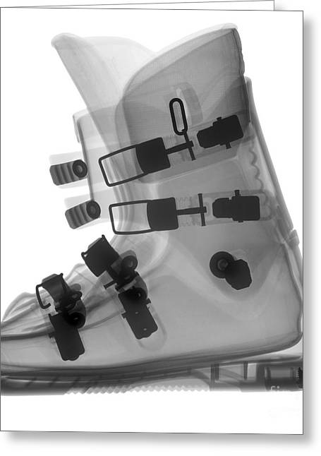 Black Boots Greeting Cards - Ski Boot Greeting Card by Ted Kinsman