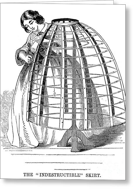 Crinoline Greeting Cards - Skirt Factory, 1859 Greeting Card by Granger