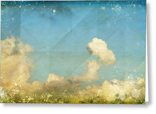 Dried Greeting Cards - Sky And Cloud On Old Grunge Paper Greeting Card by Setsiri Silapasuwanchai
