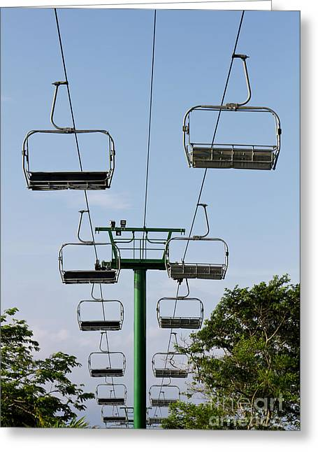 Amusements Greeting Cards - Sky ride Greeting Card by Blink Images