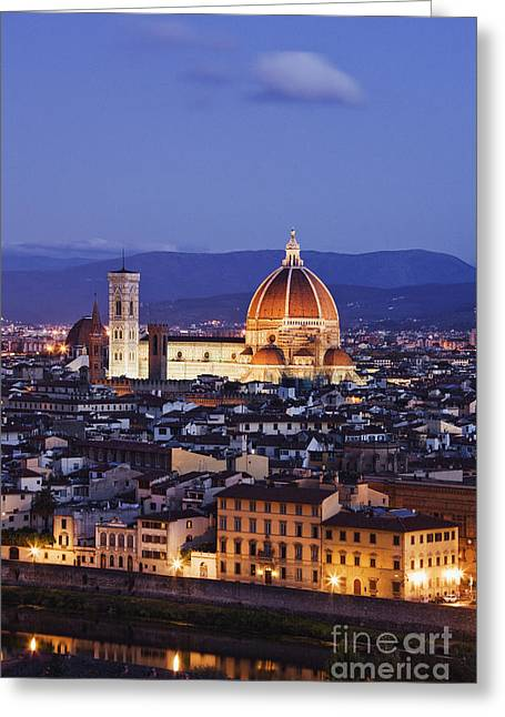Michelangelo Greeting Cards - Skyline of Florence from the Piazza Michelangelo at Dawn Greeting Card by Jeremy Woodhouse