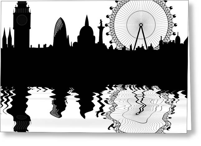 Cut-outs Digital Art Greeting Cards - skyline of London Greeting Card by Michal Boubin