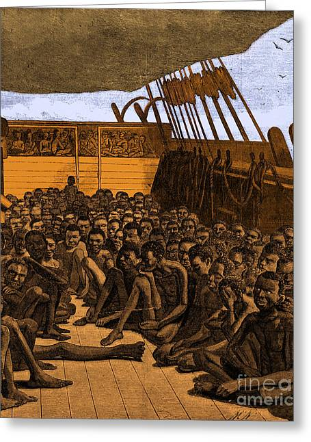 Slavery Ship Greeting Cards - Slave Ship Greeting Card by Photo Researchers