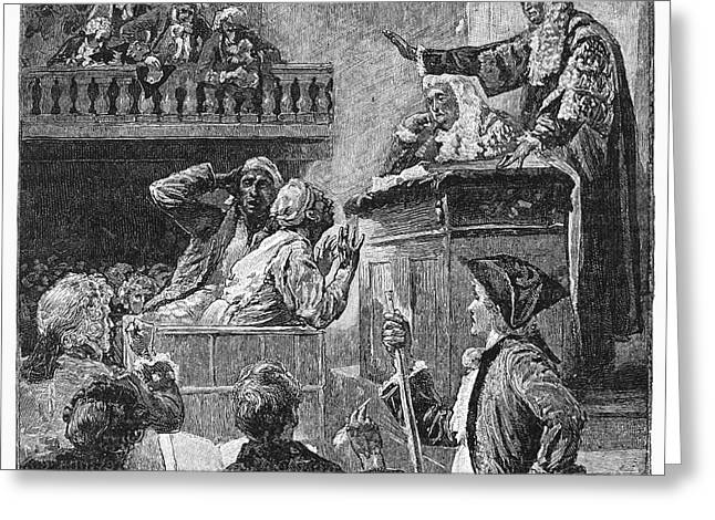 Chief Justice Greeting Cards - Slaves In Court, 1741 Greeting Card by Granger