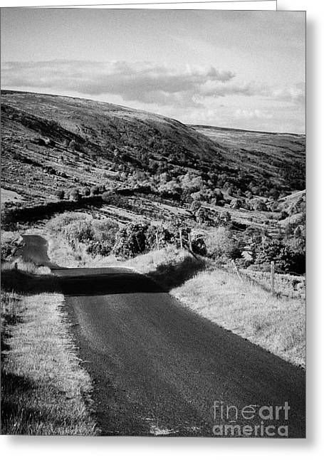 Mountain Road Greeting Cards - Small Twisty Narrow Country Mountain Road Through Glendun Scenic Route Glendun County Antrim Greeting Card by Joe Fox