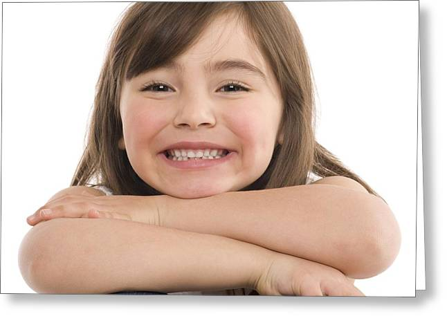 4-5 Years Greeting Cards - Smiling Girl Greeting Card by