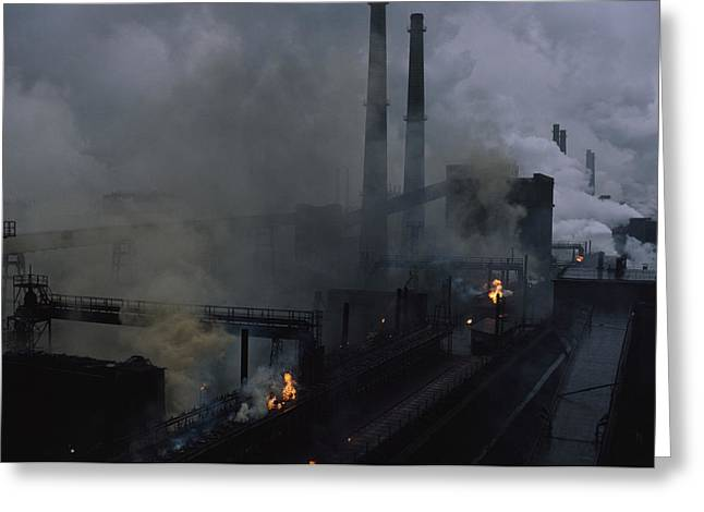 Political-economic Greeting Cards - Smoke Spews From The Coke Production Greeting Card by James L. Stanfield