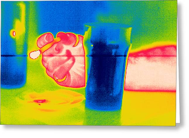 Drug House Greeting Cards - Smoking And Drinking, Thermogram Greeting Card by Tony Mcconnell